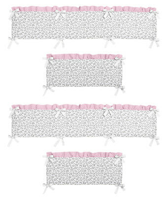 Nursery Pink Gray Cheetah Leopard Animal Print Baby Girl 4 Piece Crib Bumper Pad