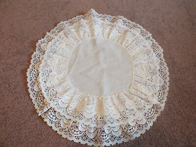 "Beautiful Eyelet Lace Table Linen Doily Runner White 13"" Round Dble Ruffle Trim"