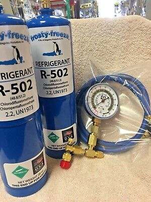 R502, 502, R-502, Recharge Kit, (2) 28 oz. Cans, Check & Charge-It Gauge & Hose