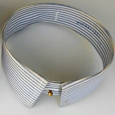 Vintage 1950s starched shirt collar detachable blue white coloured stripes 16.5""