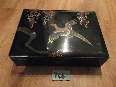 Vintage musical wooden lacquer box jewellery box