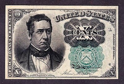 US 10c Fractional Currency Note 5th Issue FR 1264 Pos L-2 Green Seal Ch CU