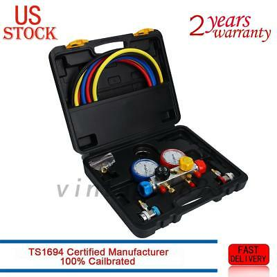 4 Way AC Diagnostic Manifold Gauge Set R410A R134A R22 Hoses Coupler Adapters