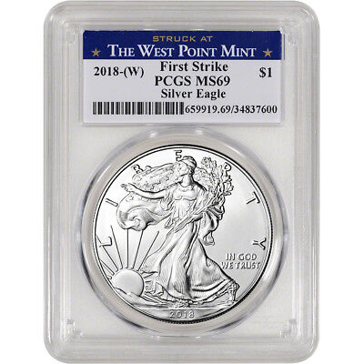 2018-(W) American Silver Eagle - PCGS MS69 - First Strike - West Point Label