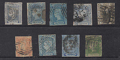 NSW 1851-54 Laureate Coll. to 6d Mostly FU Catalogue Value $1700.A RARE ASSEMBLY