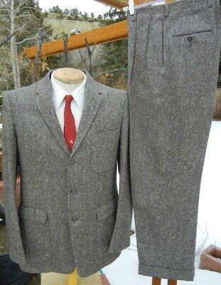 Vintage 1960s 3 Button Tweed Suit 42R 32x30 - Alterable - Hollywood Patch Pockts