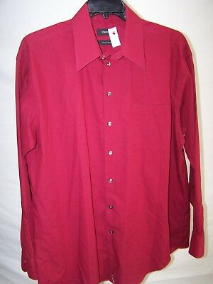 Claiborne Red Long Sleeve Button Front Collared Shirt Mens Size XL 17.5  36 37 f251b6cc9da