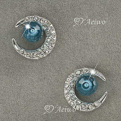 Earrings Stud 18K White Gold Gf Made With Swarovski Crystal Blue Crescent