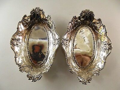 Pair Of Antique Silver Oval Repousse Dishes Hallmarked Birmingham 1904 Ref 237/5