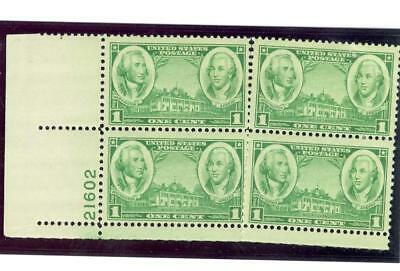 US Scott  785  1c   PB of 4   21602  LL Washington, Green & Mt. Vernon MNH  OG