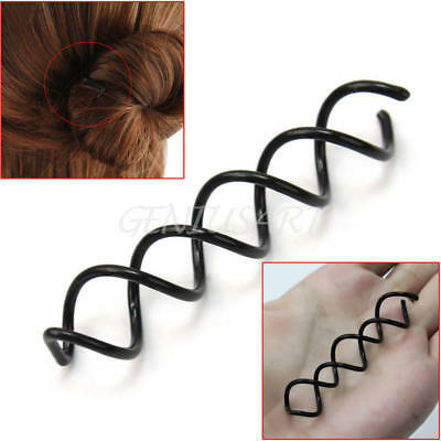 Hair Styling 10pcs Spiral Spin Screw Bobby Pin Hair Clip Twist Barrette Black