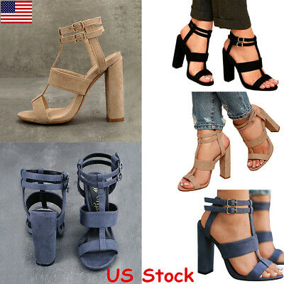 Women Buckle Block High Heels Sandals Open Toe Ankle Strap Party Club Shoes USA