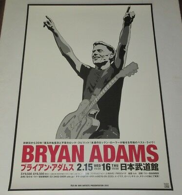 BRYAN ADAMS Japan PROMO ONLY official TOUR POSTER 2012 - more BA posters listed!