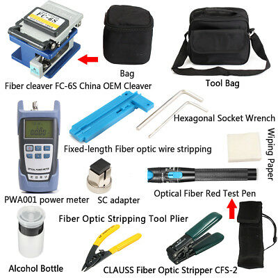14PCS Fiber Optic FTTH Tool Kit Power Meter FC-6S Optical Cleaver Fault Locator