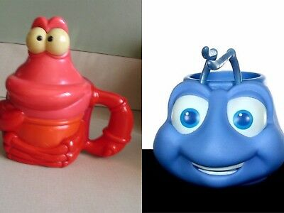 DISNEY collector cups  FLIK A Bug's Life  & Sebastian The Little Mermaid