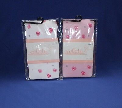 Spotlights Tights Pink & White 2 Pair with Hearts & Glitter Stars Size 7-10