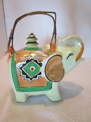 Art Deco elephant teapot Pagoda Luster ware Japan trunk up bamboo handle lucky