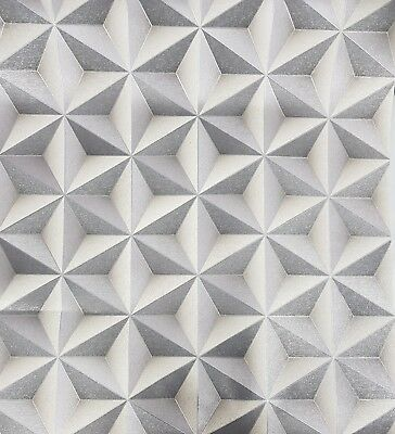 KATSUMI GEOMETRIC METALLIC Wallpaper - 3D Geometric Shapes - Gun Metal Grey