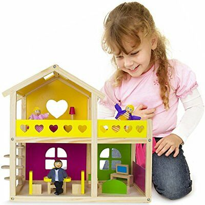 Cozy Cottage Wood Dollhouse | Includes Furniture and 3 Dolls