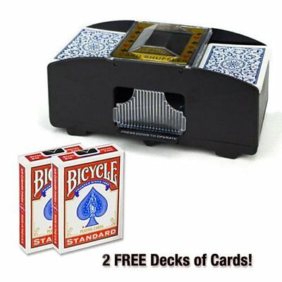 2 Deck Automatic Card Shuffler & 2 Free Decks of Bicycle Playing Cards