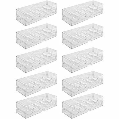 Clear Acrylic Poker Chip Tray with Lid, Holds 100 Chips, 10-pack