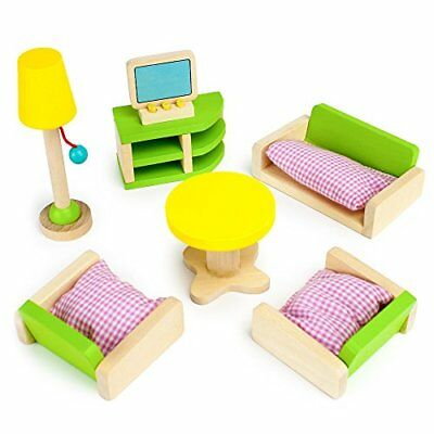 """Luxurious Living Room Colorful Wooden Dollhouse Furniture for 2-4"""" Dolls"""