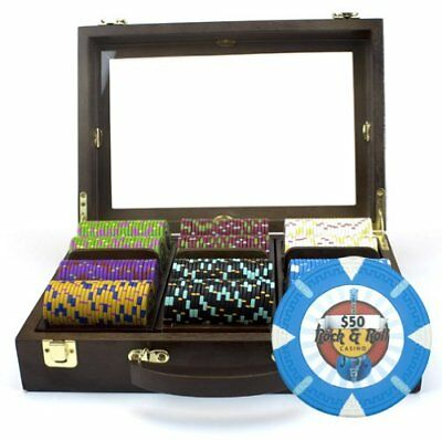 300ct. Rock & Roll Clay Composite 13.5g Poker Chip Set in Walnut Wooden Case