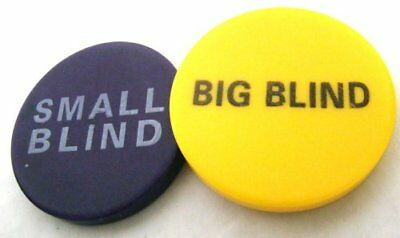 "Small & Big Blind Bundle: Two 2"" Poker Dealer Buttons"