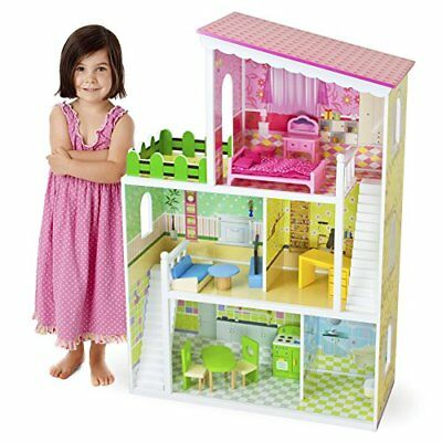 Living Large! Modern Wooden Dollhouse & 18 Furniture Pieces