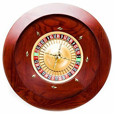 """Casino Grade Deluxe Wooden Roulette Wheel, Red/Brown Mahogany, 19.5"""""""