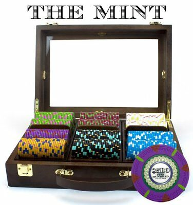 300ct. The Mint Clay Composite 13.5g Poker Chip Set in Walnut Wooden Carry Case