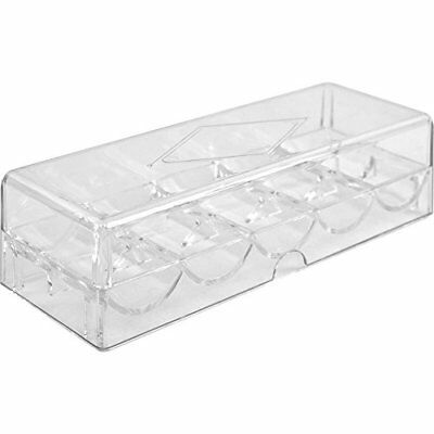 Clear Acrylic Poker Chip Tray with Lid, Holds 100 Chips