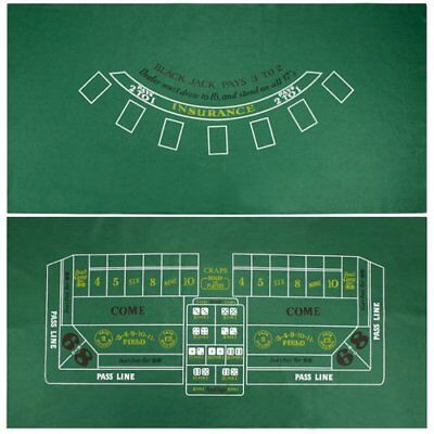 "Blackjack & Craps Green Casino Gaming Table Felt Layout, 36"" x 72"""