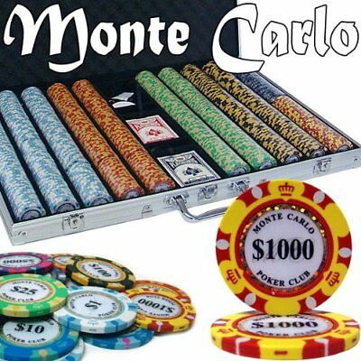 1,000ct. Monte Carlo 14g Poker Chip Set in Aluminum Metal Carry Case