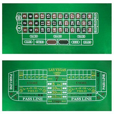 "Brybelly Roulette & Craps Green Casino Gaming Table Felt Layout, 36"" x 72"""