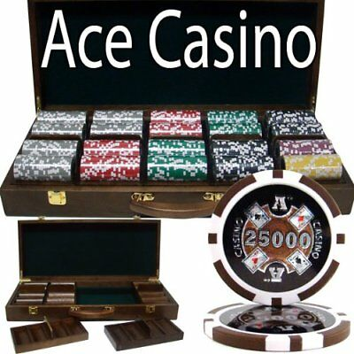 500ct. Ace Casino 14g Poker Chip Set in Walnut Wooden Carry Case