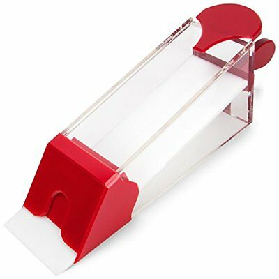 8 Deck Acrylic Baccarat Playing Card Shoe with Handle and Lid, Red