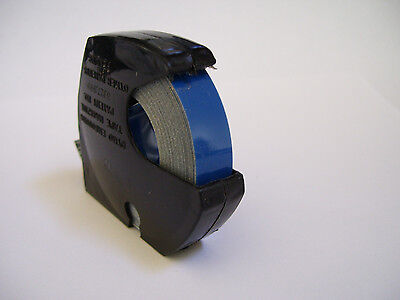 """NEW! 12 ft ROLL DYMO LABEL TAPE 3/8"""" wide BLUE GLOSSY in Black labeling Case"""
