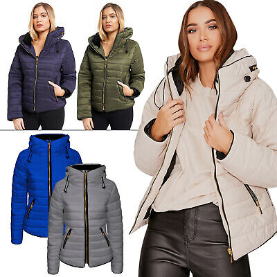 New Womens Ladies Quilted Padded Puffer Bubble Warm Winter Coat Jacket Outwear