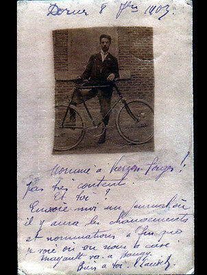 DORNES (58) OUVRIER en vélo en 1903 / Carte-Photo postale
