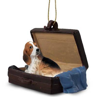 Basset Hound Traveling Companion Dog Figurine In Suit Case Ornament