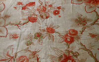 Antique Vtg French Indienne Floral Cotton Fabric ~ Coral Red Sage