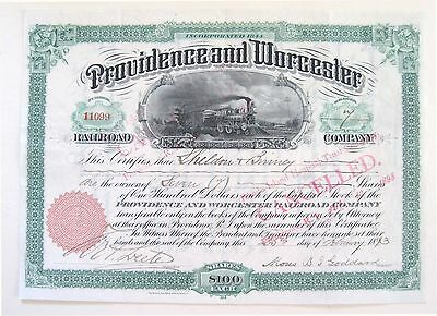 Providence & Worcester Railroad Stock Certificate 1893