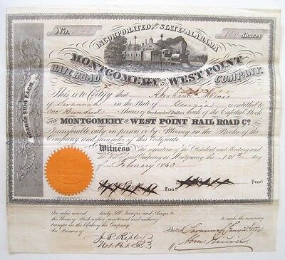 Montgomery & West Point Confederate RR Stock Certificate 1863
