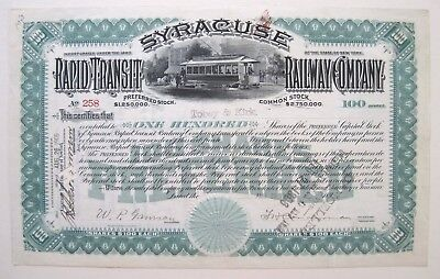 Syracuse Rapid Transit RR Stock Certificate 1905