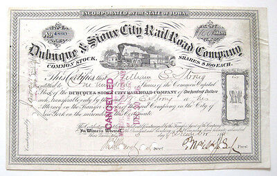 Dubuque & Sioux City Railroad Stock Certificate 1878