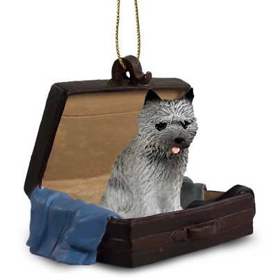 Cairn Terrier Gray Traveling Companion Dog Figurine In Suit Case Ornament