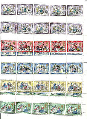 Great Britain 1979 Xmas GP Block of five Unfolded  MNH