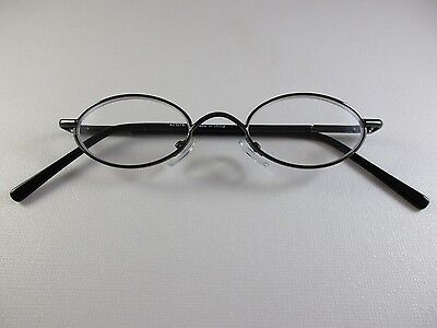 VINTAGE Small Oval Metal Dark Pewter Gray Reading Glasses Spring Temples  +1.50