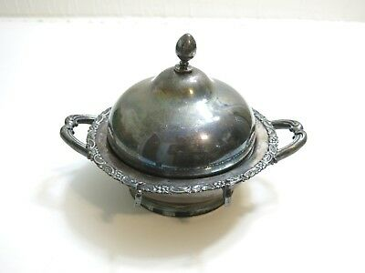 Antique Victorian Meriden Company Silver Plate Dome Butter Dish Warmer